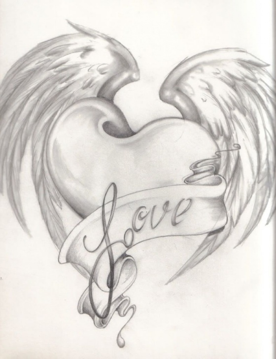 Outstanding Heart Pencil Art Easy Images For > Pencil Drawings Of Hearts And Flowers | Drawings Pic