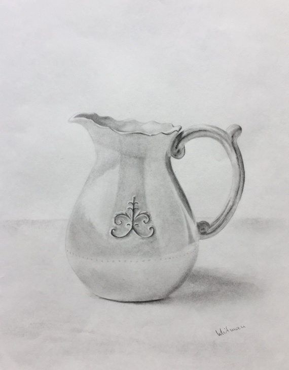 Outstanding Jug Pencil Drawing Techniques Milk Pitcher Sketch. Original Art, Graphite Pencil Drawing By Elena Pictures