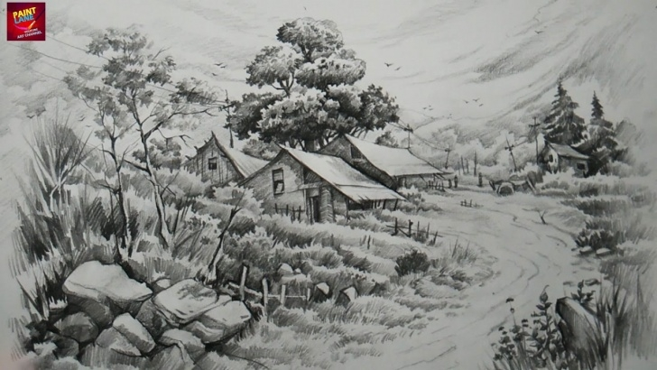 Outstanding Landscape Drawing With Pencil Shading Simple How To Draw And Shade A Landscape With Pencils By Paintlane Picture