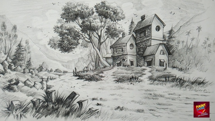 Landscape Drawing With Pencil Shading