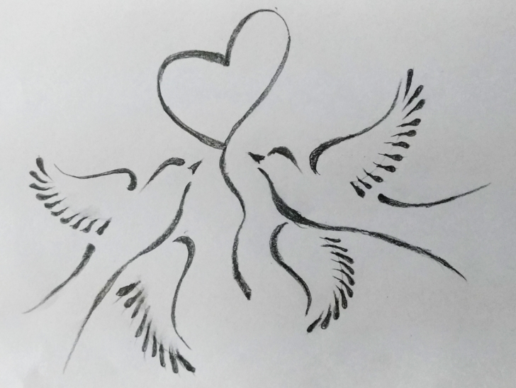 Outstanding Love Birds Sketch Simple Two Birds Art By Mlspcart On Dribbble Image