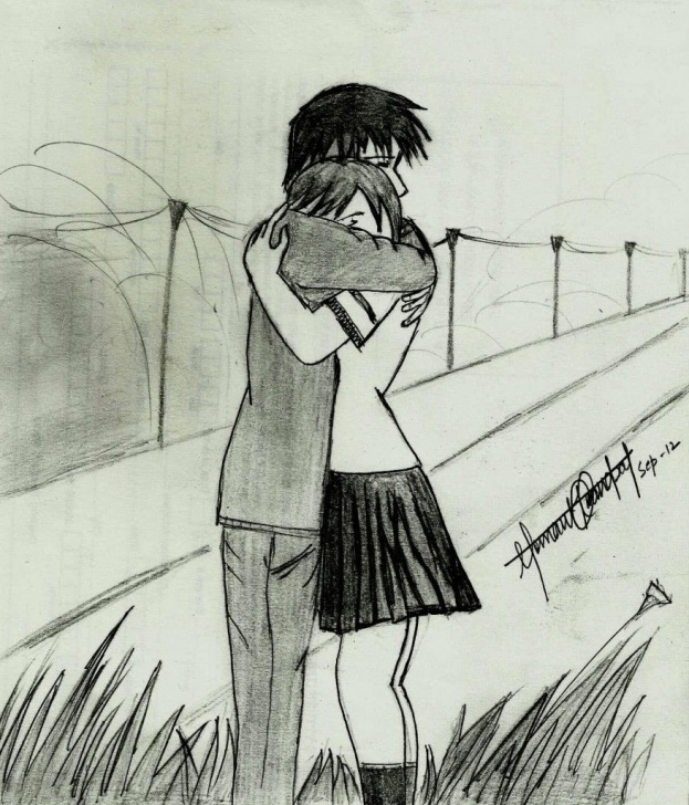 Outstanding Love Couple Sketch Art Simple Pencil Sketches Of Couples In Love Cute Couple Hemant Kandpals Art Photos