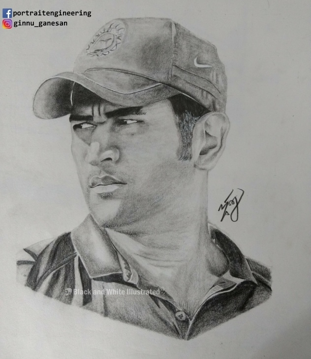 Outstanding Ms Dhoni Pencil Sketch Tutorial Dhoni In My Pencil Sketch – Black And White Illustrated Photo