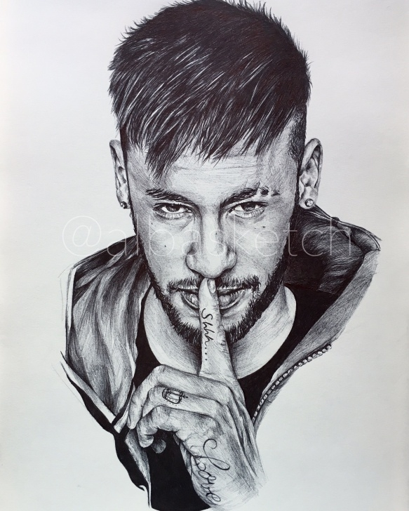 Neymar Pencil Drawing