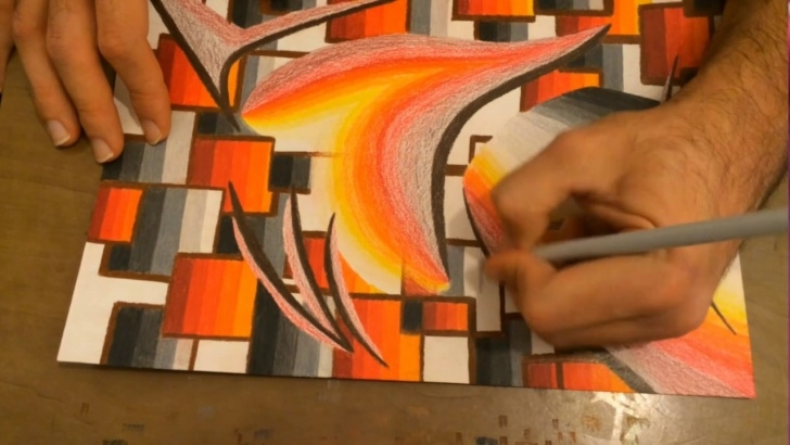 Outstanding Oil Pencil Drawing Free Very Easy Abstract Drawing Creating Flame Colours With Oil Pencils. Pic