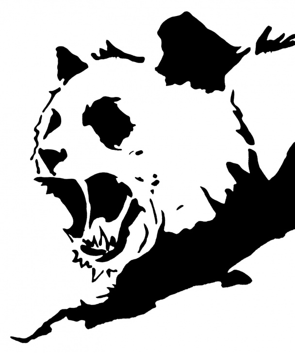 Outstanding Panda Graffiti Stencil Techniques for Beginners Angry Panda Stencil Template T-Shirt Design | Stenciling In 2019 Photos