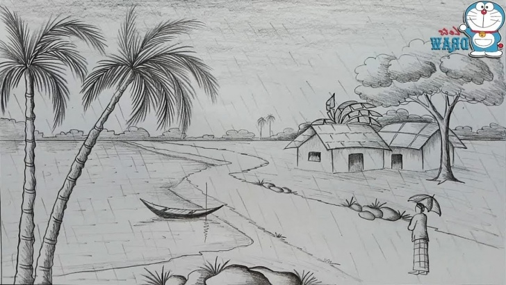 Outstanding Pencil Drawing Scenery Easy Step by Step Sketch Of Village Scenery At Paintingvalley | Explore Collection Photos