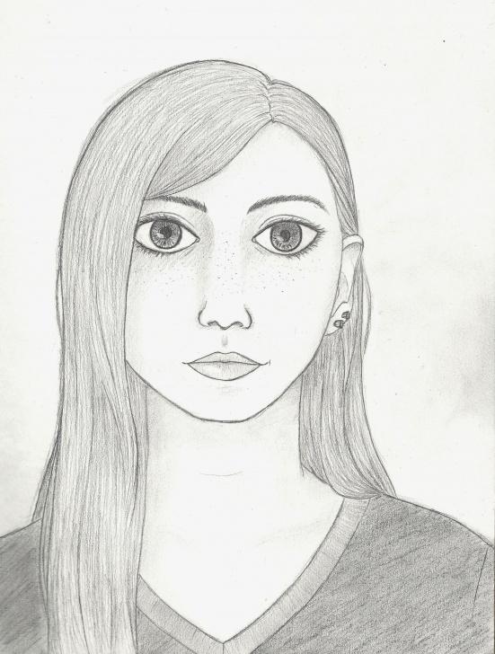 """Outstanding Pencil Self Portrait Simple Amateur Self-Portrait, Pencil, 8X11"""" : Art Photo"""