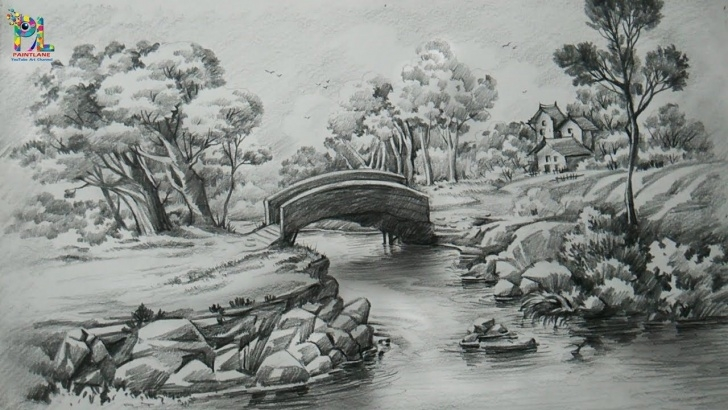 Outstanding Pencil Shade Painting Techniques for Beginners Pencil Shade Painting Landscape How To Draw A Easy Landscape With Photos