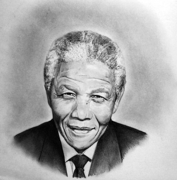 Outstanding Pencil Sketch Of Nelson Mandela Tutorials Nelson Mandela Drawing, Pencil, Sketch, Colorful, Realistic Art Picture