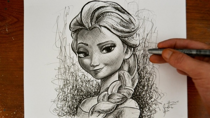 Outstanding Pencil Sketch Of Princess Courses Drawing Elsa From Frozen - Disney Princess Snow Queen Photo