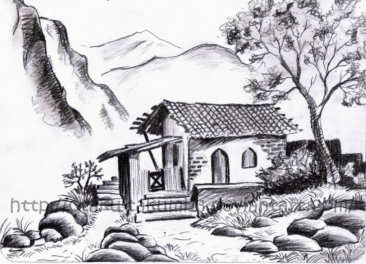 Outstanding Pencil Sketches Of Nature Scenery Simple Pencil Sketch Pictures Nature And Pencil Drawings Nature Scenery Pics
