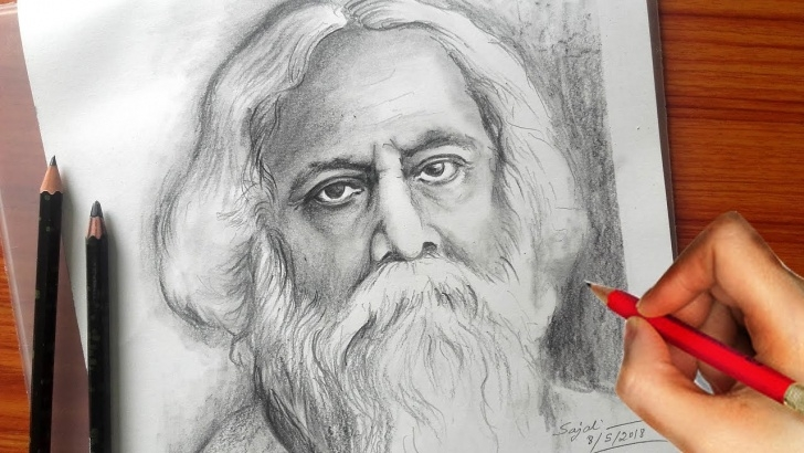 Outstanding Rabindranath Tagore Pencil Sketch Free Drawing Rabindranath Tagore / Pencil Sketch /banglar Art Image
