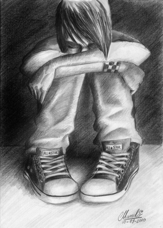 Outstanding Sad Love Pencil Sketches Techniques Sad Love Pencil Sketch Hd Wallpaper Love Failure - Hate Myself I Pic