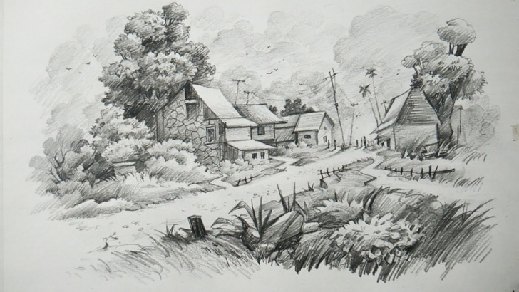 Outstanding Scenery Pencil Drawing Free Pencil Sketch Scenery At Paintingvalley | Explore Collection Of Image