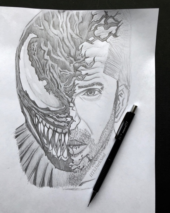 Outstanding Venom Pencil Art Techniques I Tried To Draw The Venom Wallpaper In Pencil, With A Few Of My Own Picture