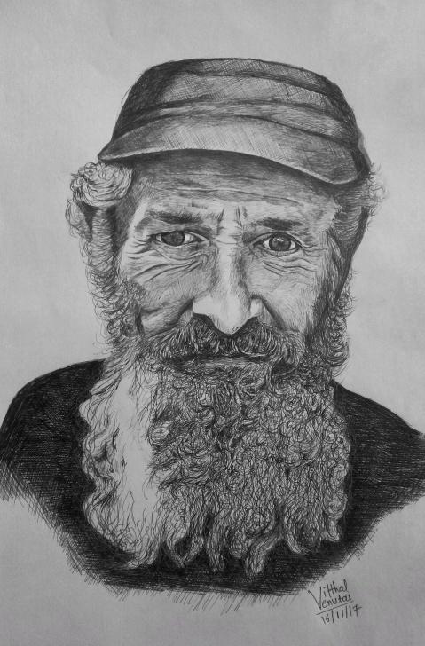Outstanding Vitthal Pencil Sketch Tutorials Ball Point Pen Sketch #10012018 #beard #man #vitthal #sketch Photo