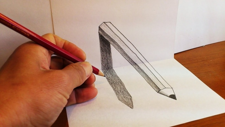 Popular 3D Pencil Drawings Easy Tutorials How To Draw 3D Pencil Art - Optical Illusion On Paper Picture