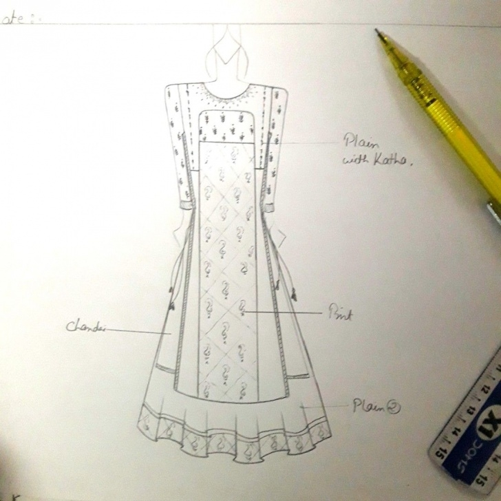 Popular Anarkali Dress Pencil Sketch Simple Kurti Sketches | Designers | Fashion Design Sketchbook, Dress Design Image
