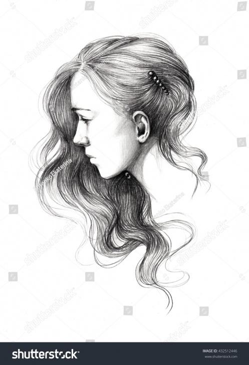 Popular Beautiful Girl Pencil Drawing Tutorials Pencil Drawing Young Beautiful Girl Portrait Stock Illustration Image