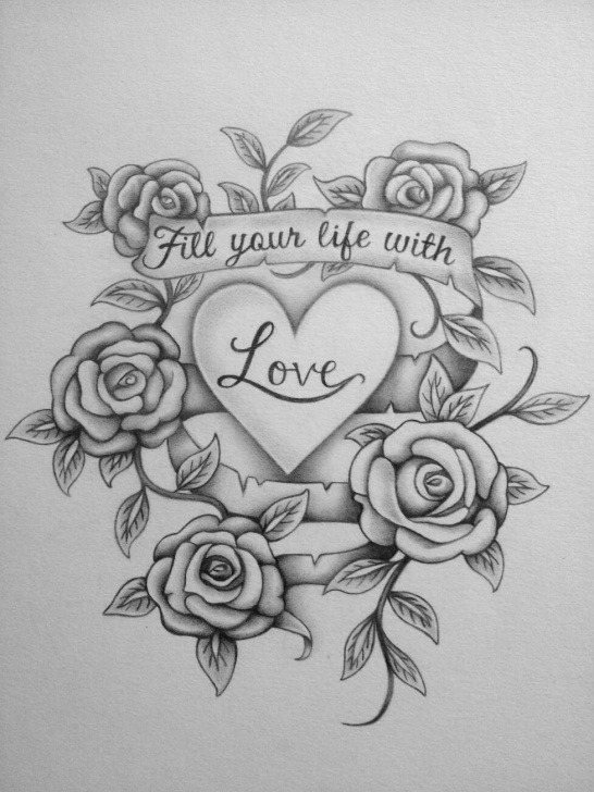 Popular Beautiful Pencil Sketches Of Roses Ideas Free Heart And Rose Drawings In Pencil, Download Free Clip Art, Free Pic