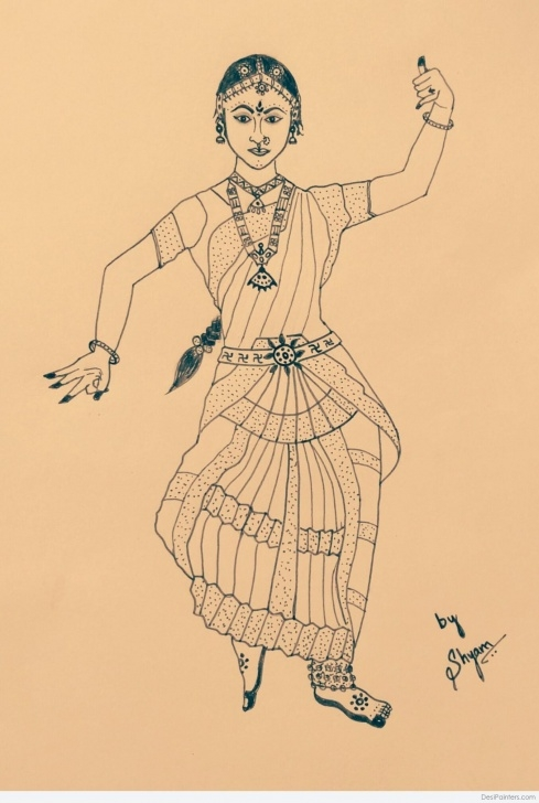 Popular Bharatanatyam Pencil Sketches Courses Beautiful Pencil Sketch Of Bharatanatyam Performer | Desipainters Image