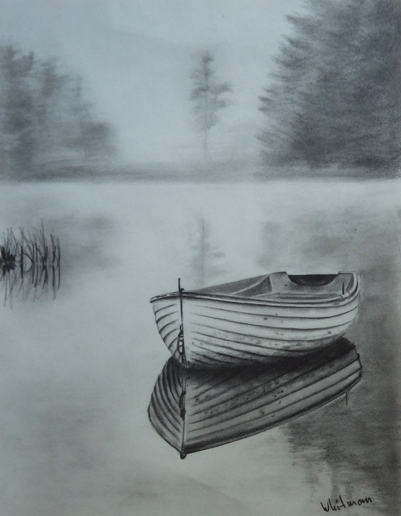 Popular Boat Pencil Sketch Easy Misty Row Boat Sketch, Water Reflections. Original Art, Graphite Picture