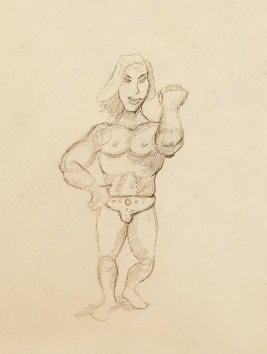 Popular Bodybuilder Pencil Sketch Tutorial Funny Bodybuilder, Pencil Sketch On Vintage Paper. — Stock Photo Pic