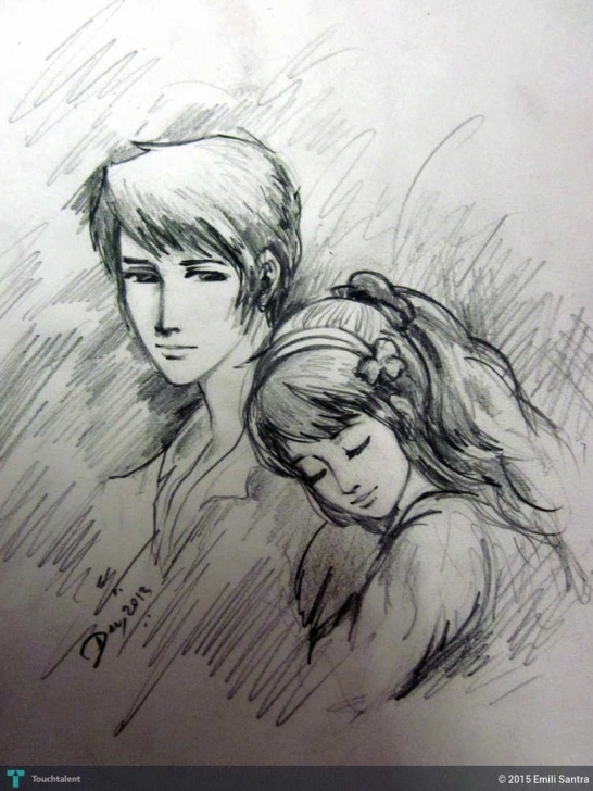 Boy And Girl Pencil Sketch