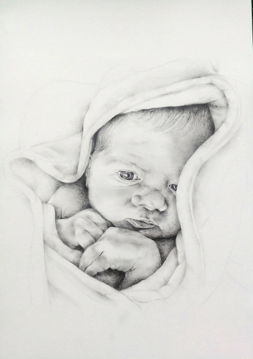 Popular Child Pencil Drawing Tutorials Hand Drawn Baby Portrait, Custom Baby Pencil Drawing, Drawing From Image