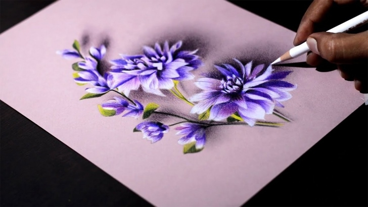 Popular Colored Pencil Flowers Tutorials Purple Flowers -- Colored Pencils On Canson Mi Teintes Paper. Photos