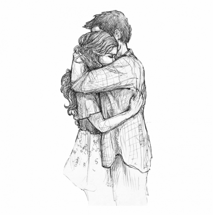 Popular Couple Hug Sketch for Beginners Hug Drawing, Pencil, Sketch, Colorful, Realistic Art Images Pics
