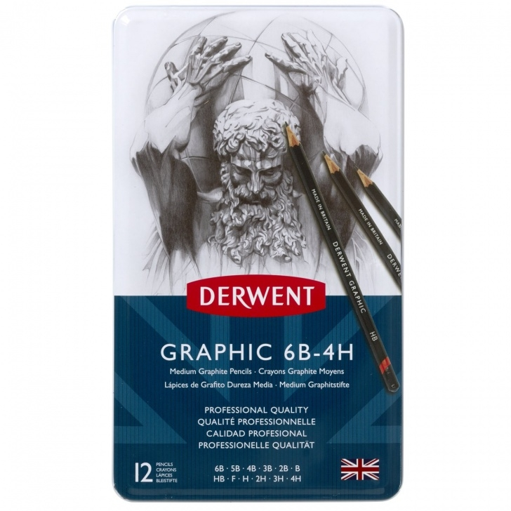 Popular Derwent Graphic 12 Free Derwent Graphic Pencils, Medium, Metal Tin, 12 Count Photo