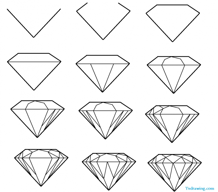Popular Diamond Pencil Drawing Tutorial Diamond Drawing, Pencil, Sketch, Colorful, Realistic Art Images Photo