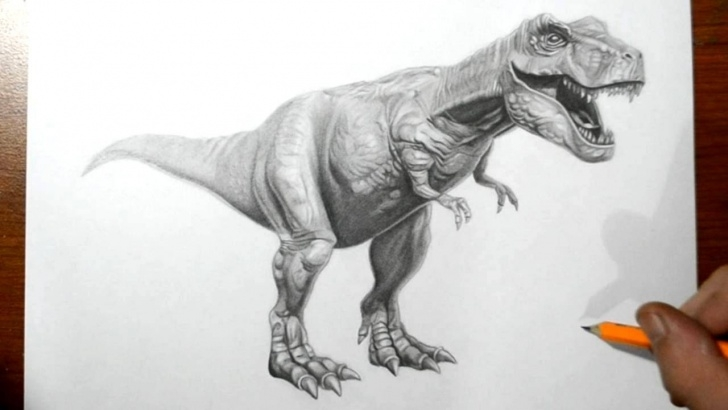 Popular Dinosaur Pencil Drawing Free How To Draw A T-Rex Dinosaur Pic
