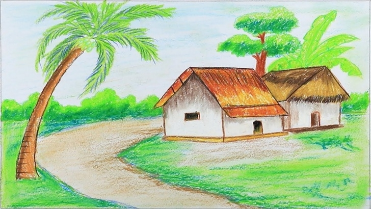 Popular Drawing Images Village Lessons How To Draw Village Scenery Step By Step With Oil Pastels (Very Easy Photos