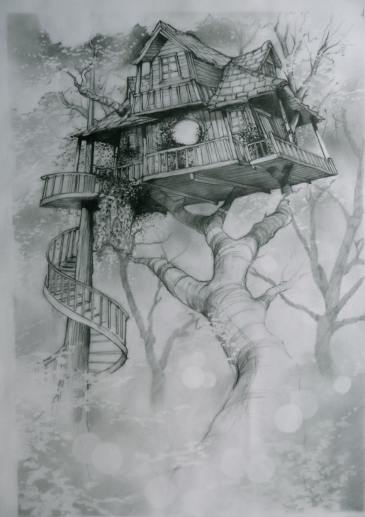 Popular Fantasy Pencil Drawings Lessons Tree House | Bohemian | Drawings, Tree House Drawing, Easy Drawings Pics
