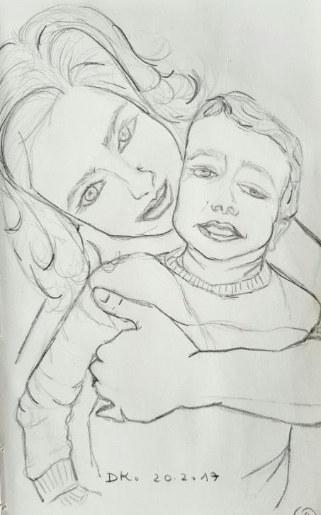 "Popular Good Morning Pencil Sketch Courses Pencil Sketch By Dorit Kenyagin #9 Lea & Maayan ""100 - Good Morning Pics"
