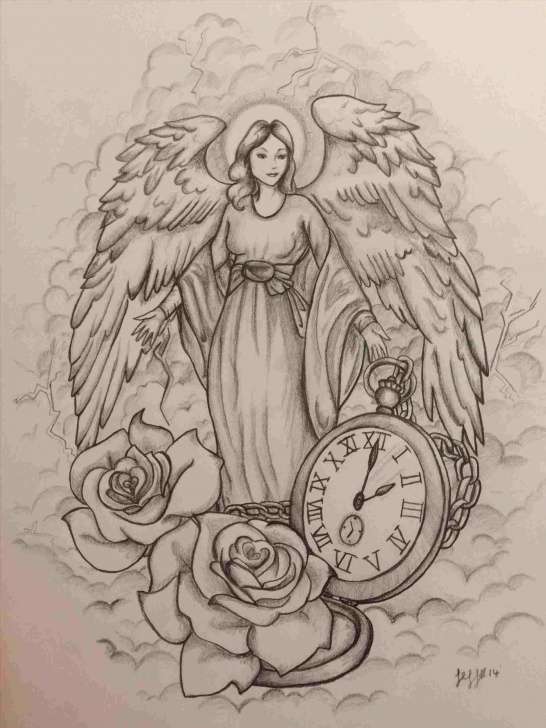 Popular Guardian Angel Pencil Drawings Courses Guardian Angel Pencil Drawings | Drawing Work Image