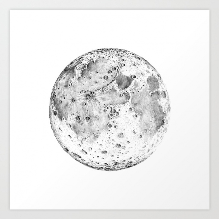 Popular Moon Pencil Drawing for Beginners Full Moon Pencil Drawing Art Print Image