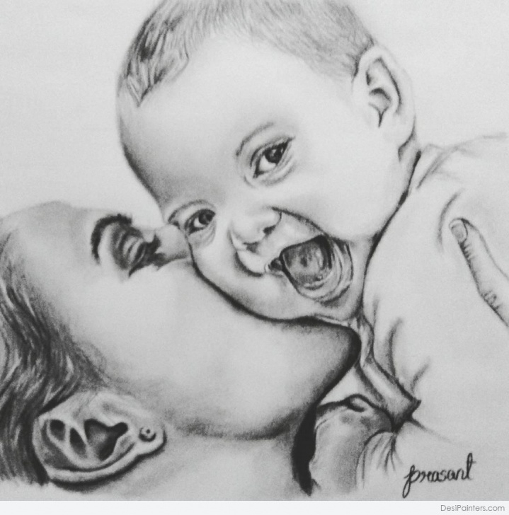 Popular Mother And Son Pencil Drawing Tutorial Sketch Of Mother And Baby At Paintingvalley | Explore Collection Image
