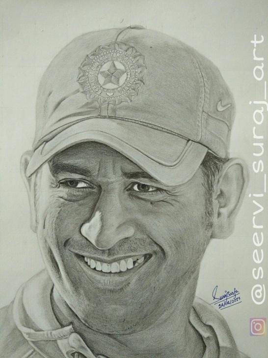 Popular Ms Dhoni Pencil Sketch Techniques Ms Dhoni , Sketch By Me ( Ig : @seervi_Suraj_Art ) | Celebrity Pic