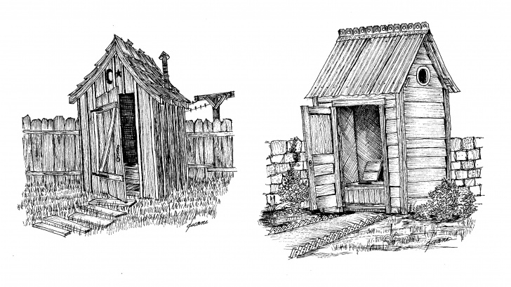 Popular Outdoor Pencil Sketches Techniques Outdoor Toilets Came In All Shapes And Sizes. | Pen And Ink Drawings Pic