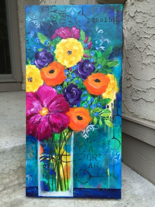 Popular Painting On Canvas With Stencils Simple Acrylic Paint, Stencils, Spray Paint On 12X24 Canvas. Flower Love Photos