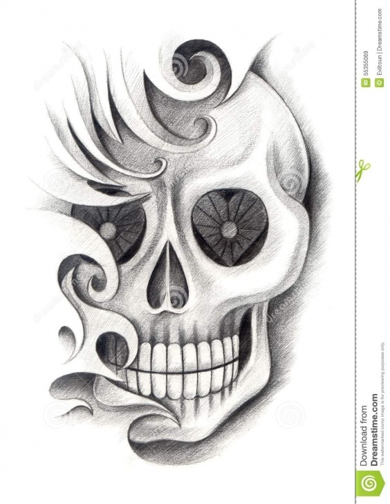 Popular Pencil Art Design Tutorial Skull Art Tattoo. Stock Illustration. Illustration Of Creativity Pictures
