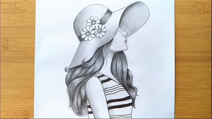 Popular Pencil Drawing Of Girl Courses How To Draw A Girl With Hat For Beginners - Step By Step || Pencil Sketch Photos
