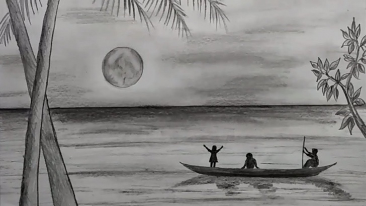 Popular Pencil Sketch For Kids Lessons How To Draw A Scenery Of Moonlit Night With Pencil Sketch For Kids Photo