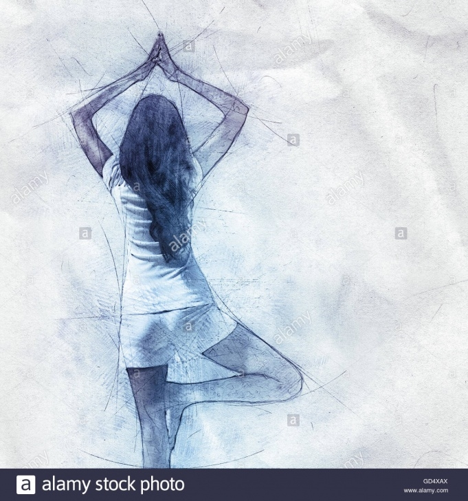 Popular Pencil Sketch Of A Girl Standing Step by Step Outline Drawing Pencil Sketch Of A Woman Doing Yoga Standing Stock Image