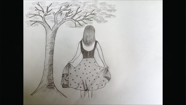 Popular Pencil Sketch Of A Girl Standing Tutorial How To Draw A Girl Standing Under Tree | Pencil Sketch Drawing Image
