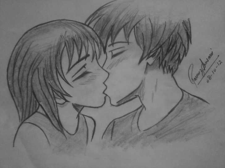 Popular Pencil Sketch Of Kissing Couple Free Kiss Pencil Sketch At Paintingvalley | Explore Collection Of Photo